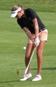 Marion Benzekri a éprouvé des difficultés au chipping en début de partie mais s'est bien reprise sur le retour.