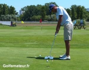 Hubert Tisserand s'est entraîné au practice du golf de Borély avant d'effectuer sa reconnaissance à Aix-Marseille.