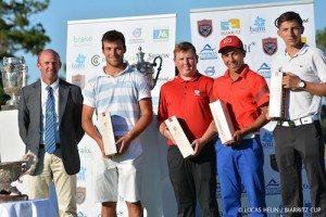 Le podium de cette édition 2016 de la Biarritz Cup avec Jérémy Gandon, Jack Yule et Clément Charmasson.